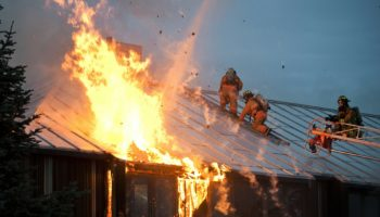 Commercial, Residential Structures & Vehicles - House fire and firemen photo